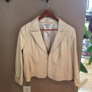 Ivory leather and fox jacket